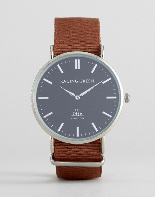 Racing Green Brown Strap With Round Black Dial Watch