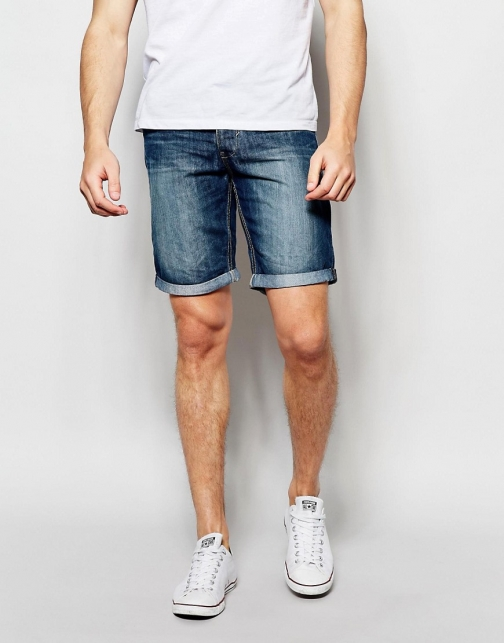 Blend Twister Slim Fit Mid Wash Denim Short