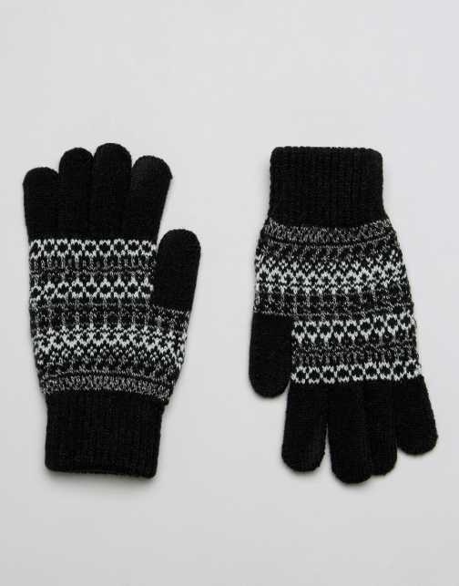 Asos Fairisle Black Glove