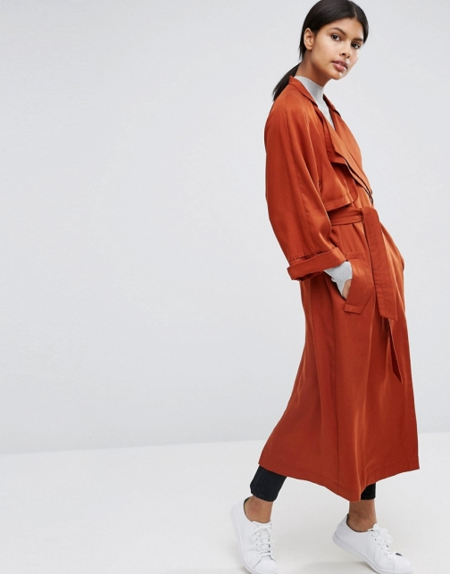 Asos Mac With Roll Back Sleeve And Double Detail Collar