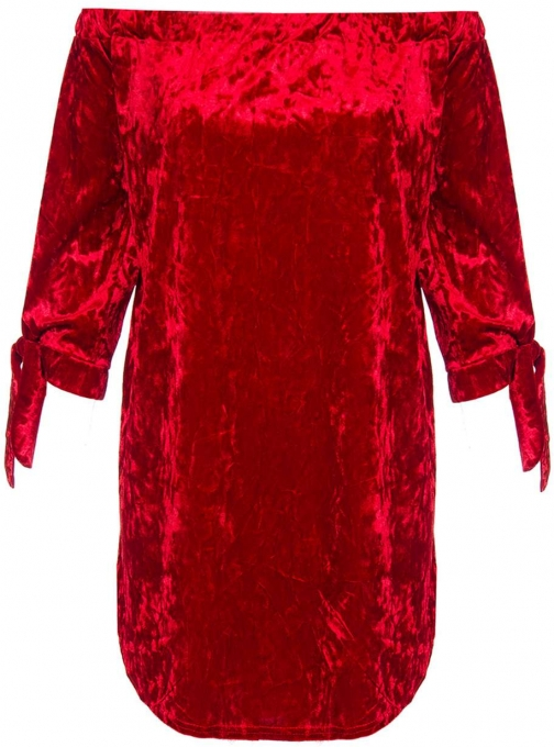 Dorothy Perkins Womens **Quiz Velvet Sleeve Tunic- Red Tie