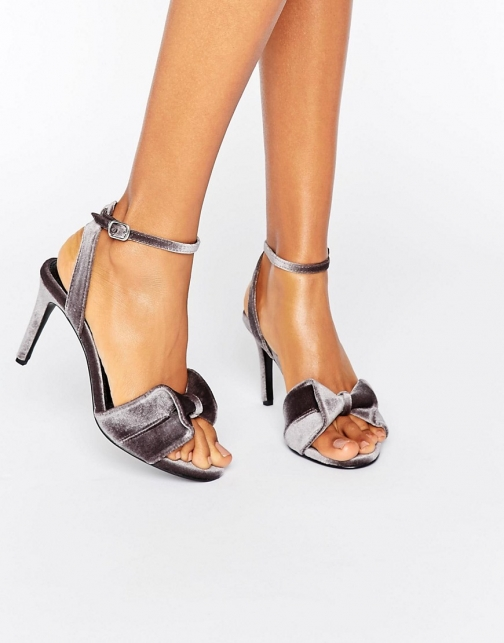 Warehouse Velvet Bow Heeled Sandal