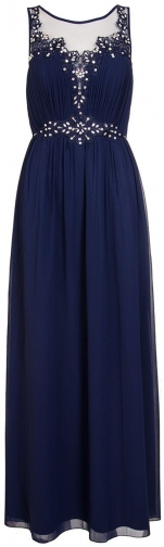 Quiz Navy Chiffon Embroidered Maxi Dress