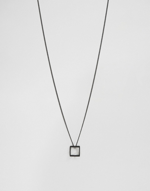 Asos With Square Pendant Necklace