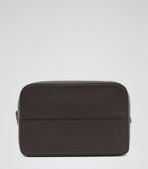 Reiss Grant Fossil Leather Wash Bag