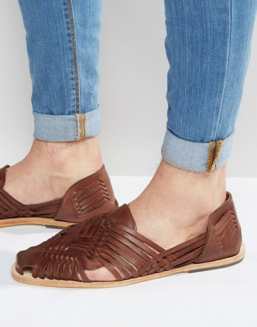 Asos Hudson Matto Woven Leather Sandal