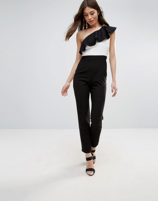 Vesper One Shoulder With Contrast Frill Jumpsuit