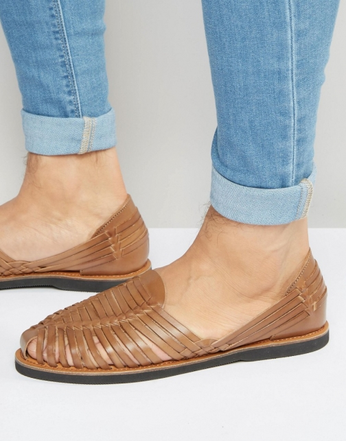Kg By Kurt Geiger Woven Tan Leather Sandal