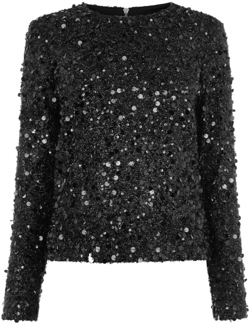 Warehouse Long Sleeve Sequin Top