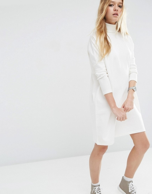 Asos High Neck Slouch With Rib Sleeve Detail Dress