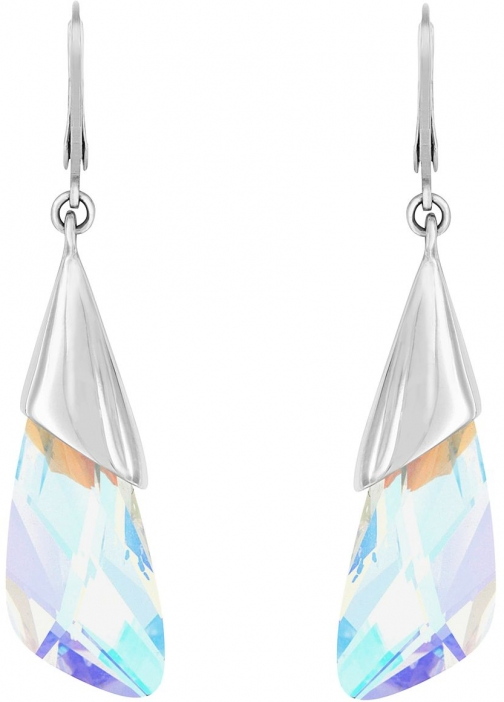 Aurora Rhodium Plated Crystal Drop Earring