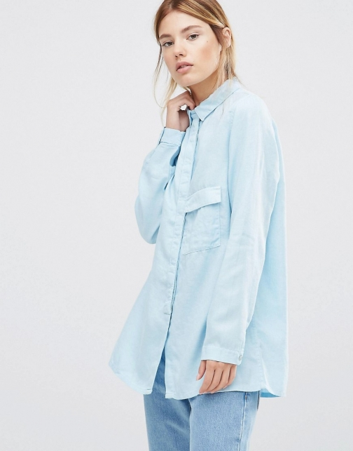 Wåven Waven Laure Long Sleeve Luxe Blue Shirt