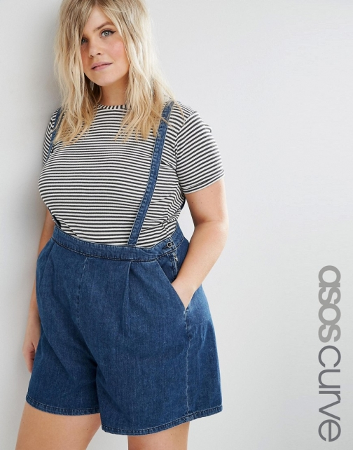 Asos Curve CURVE With Detachable Braces Denim Short