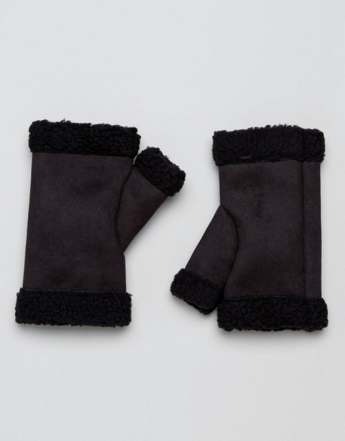 Asos Fingerless Black Faux Shearling Glove