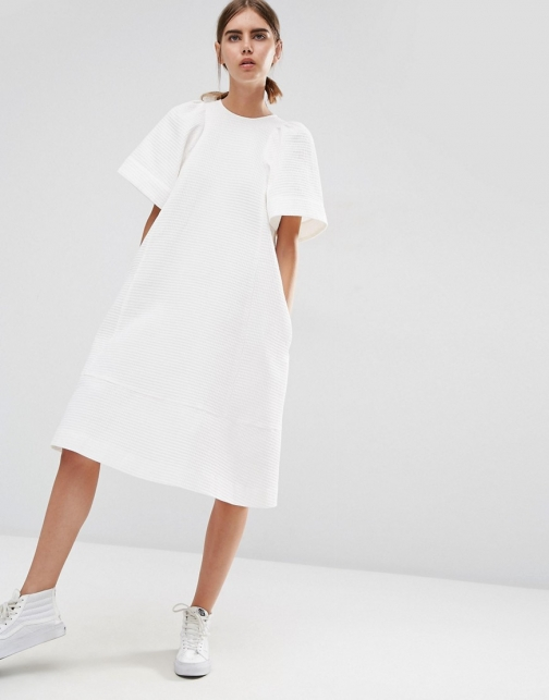 Asos White WHITE Textured A-Line With Frill Sleeve Midi Dress