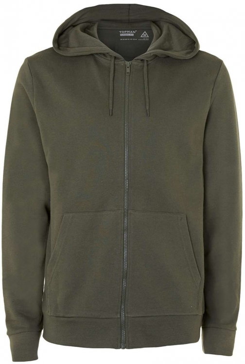 Topman Men's Topman Khaki Zip Through Hoodie