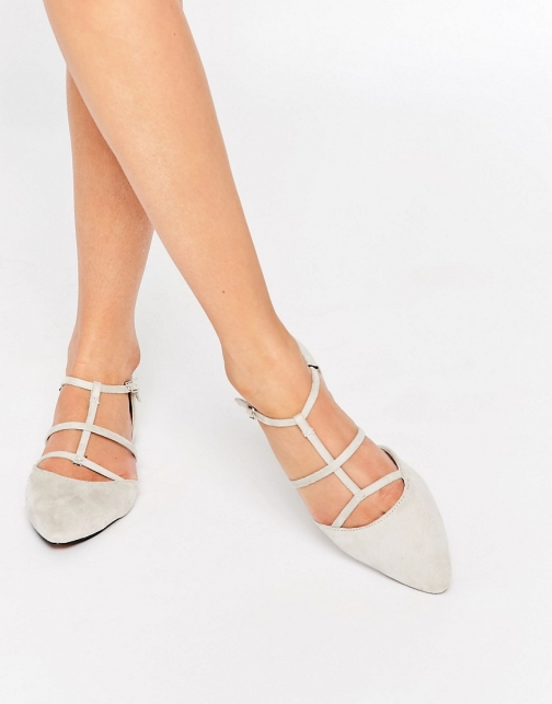 Glamorous Stone Suede Caged Flat Shoes