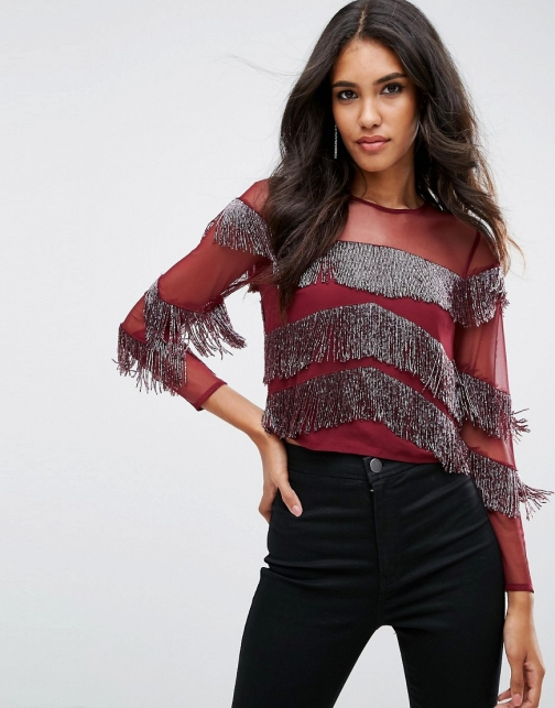 Asos With Embellished Fringing & Sheer Panel Top