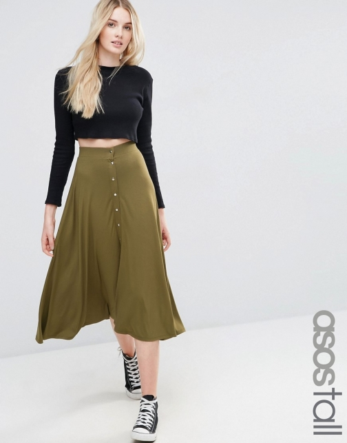 Asos Tall TALL Midi With Poppers Skater Skirt