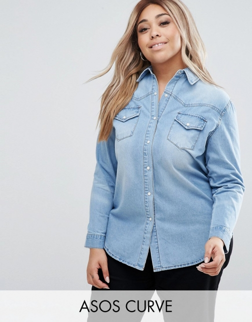 Asos Curve CURVE Denim Boyfriend Light Blue Wash Shirt