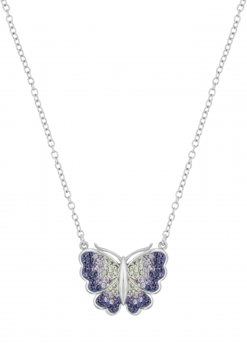 Aurora Flash Rhodium Plated Purple Butterfly Necklace