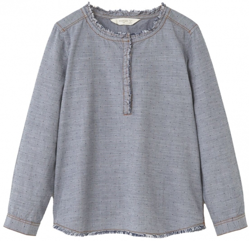 Mango Girls Contrasting Cotton-blend Shirt