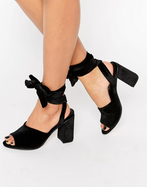 Asos HITCH A RIDE Velvet Lace Up Mules