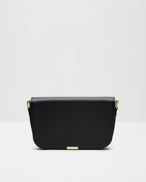 Ted Baker Metallic Bar Leather Shoulder Black Bag