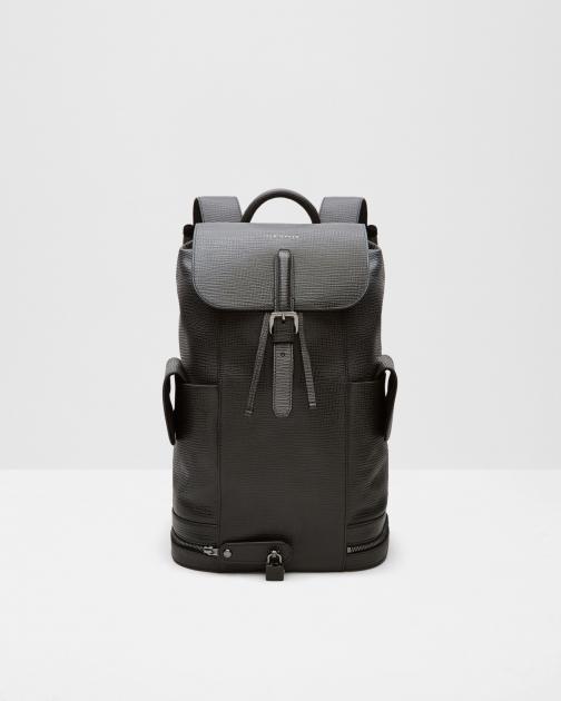Ted Baker Textured Leather Lock Black Backpack