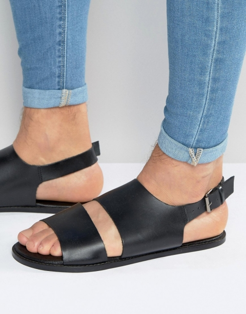 Asos Black Leather With Cut Out Sandal
