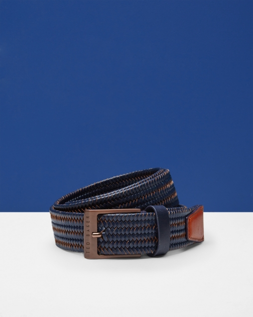 Ted Baker Two-tone Woven Navy Belt