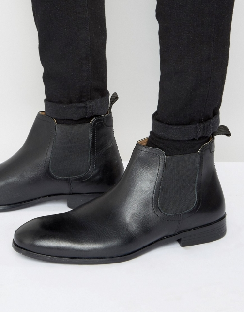 Red Tape Chelsea Black Leather Boot