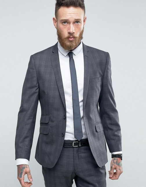 Ben Sherman Slim Fit Grey Overcheck Suit Jacket