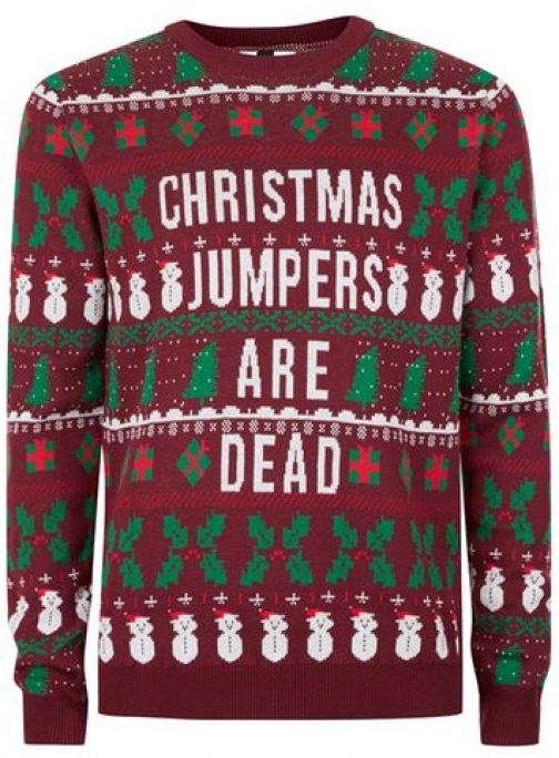 Topman Mens Red Burgundy Christmas Are Dead Christmas , Red Jumper