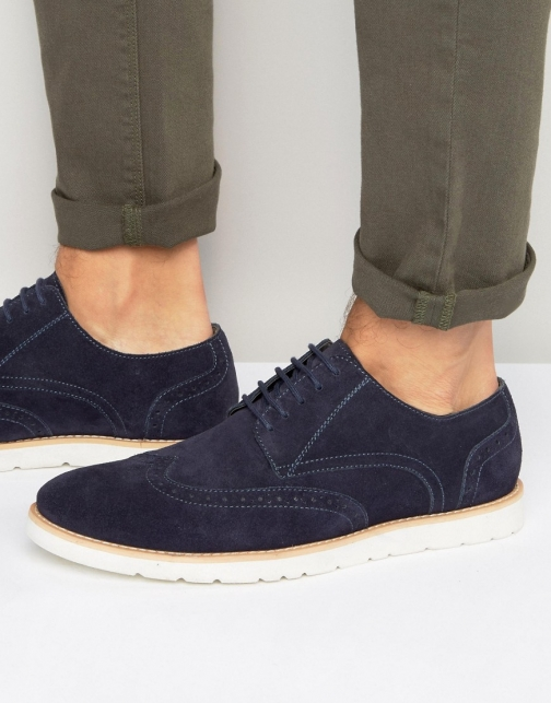 Frank Wright Brogues Navy Suede Brogue