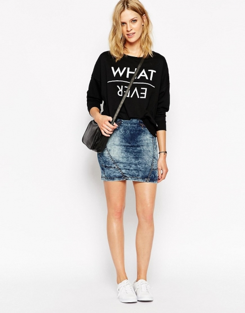 Noisy May High Waist With Zips Denim Skirt