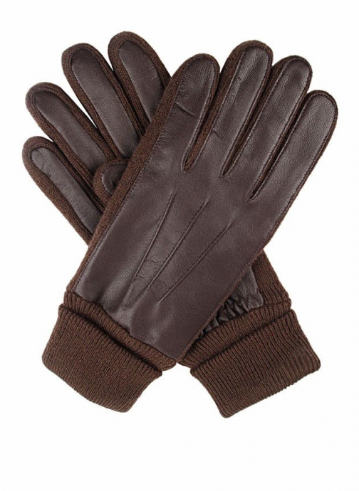 Dents Womens Leather With Knitted Detail Glove