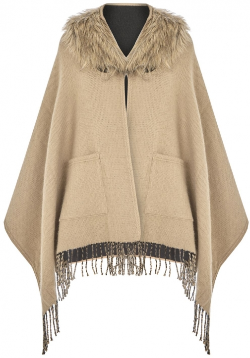 Oasis Rvrsbl Fringed Fur Wrap Collar