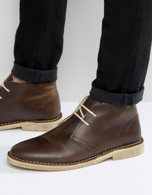 Asos Desert Brown Leather With Faux Shearling Lining Boot