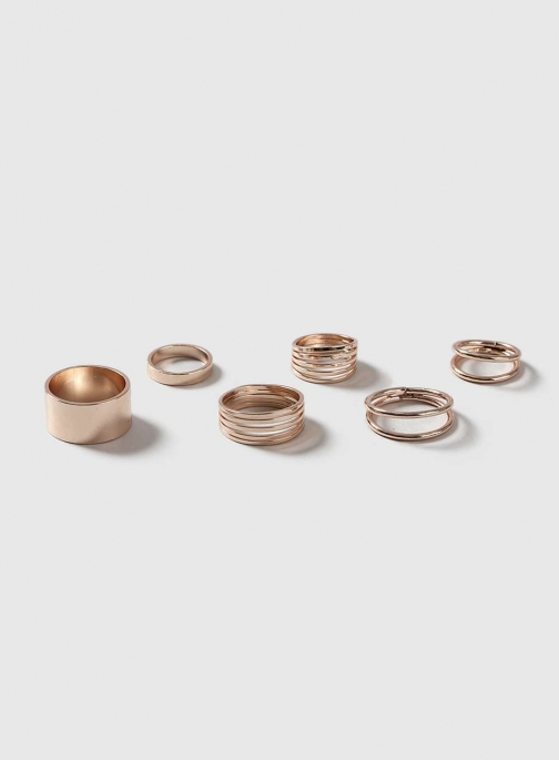Dorothy Perkins Womens Rose Gold Smooth Metal 6 Pack - Rose Gold Ring