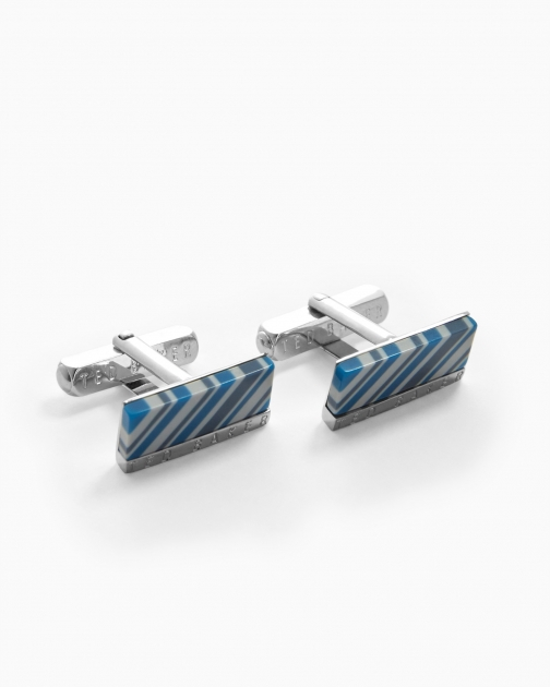 Ted Baker Rectangular Striped Blue Cufflink