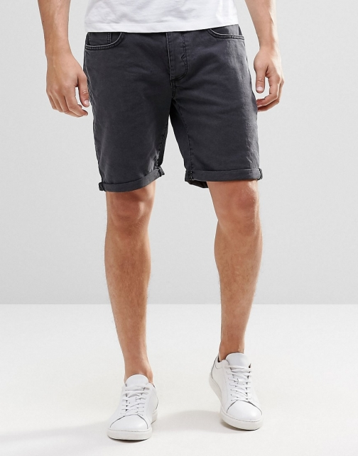 Selected Homme Black Denim Short