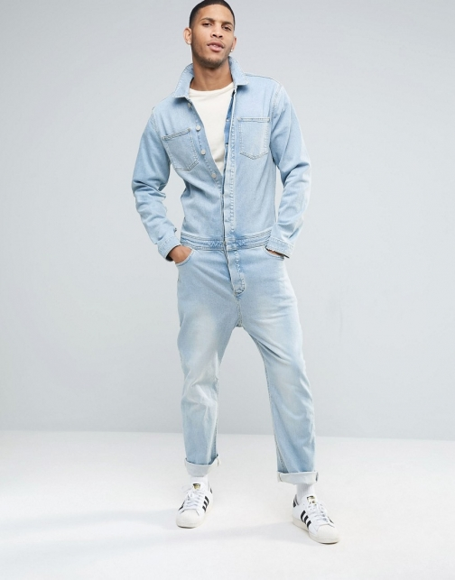 Asos Denim Boiler Light Blue Suit