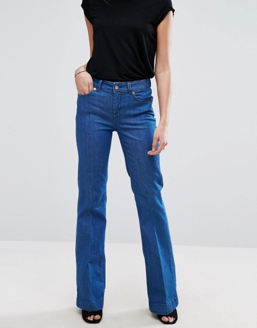 Selected High Rise Flare Jeans
