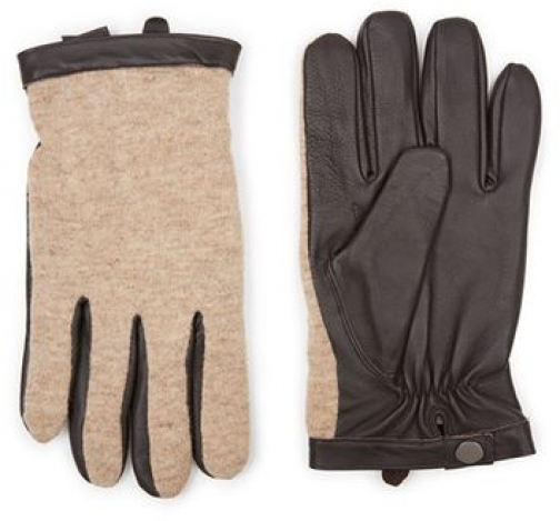 Topman Mens Camel And Brown Leather And Knitted , Brown Glove