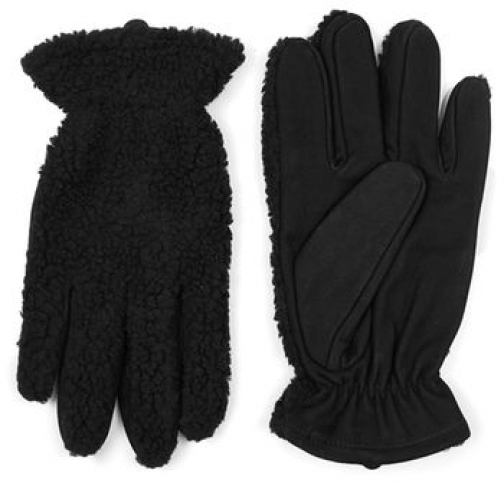 Topman Mens Black Leather And Faux Shearling , Black Glove