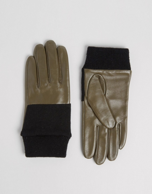 Asos Leather And Knit Mix Glove