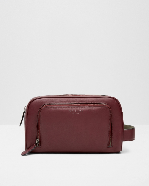 Ted Baker Leather Oxblood Wash Bag