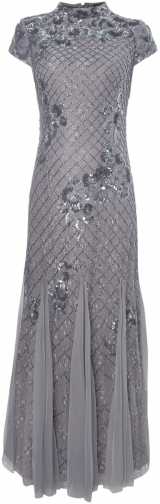 Adrianna Papell Mandarin Beaded Gown Collar