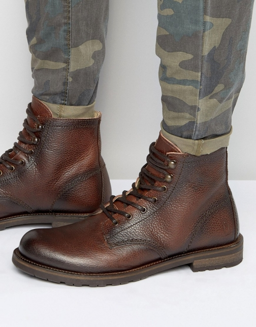 Shoe The Bear Worker Leather Lace Up Boot
